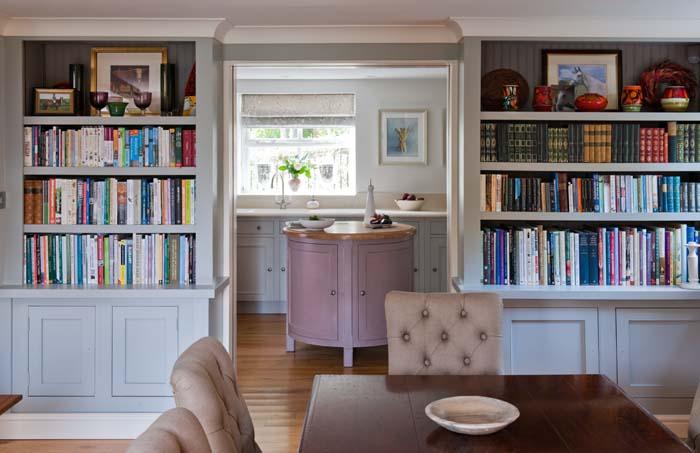Kitchen with bookshelf interior