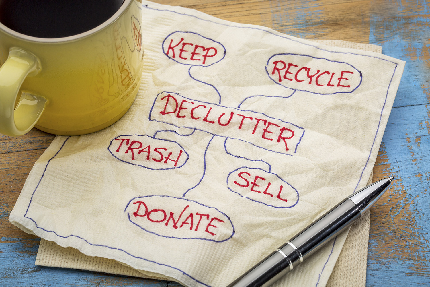 Declutter, keep, sell, donate, trash napkin
