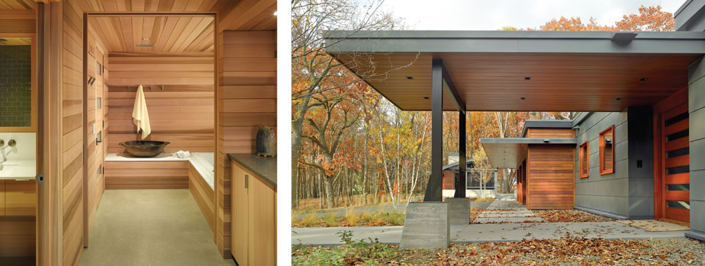 Wood panels in sauna contrast with steel and concrete exterior