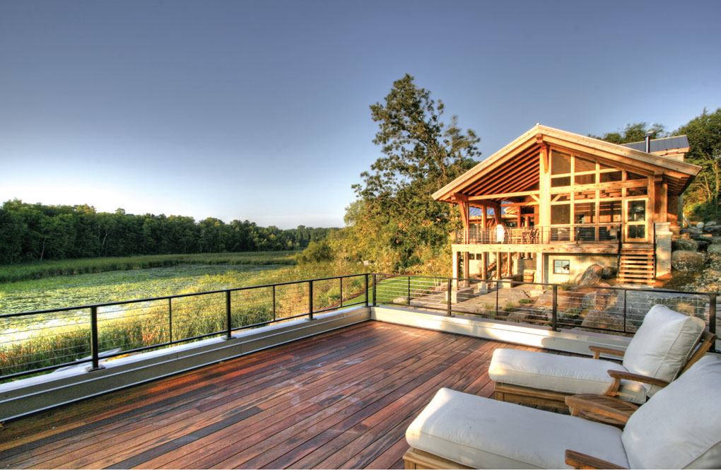 Deck overlooking nearby lake