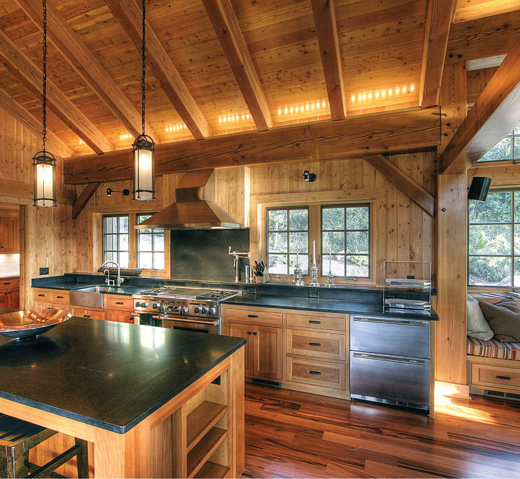 Kitchen is characterized by Timber-Frame Craftsmanship