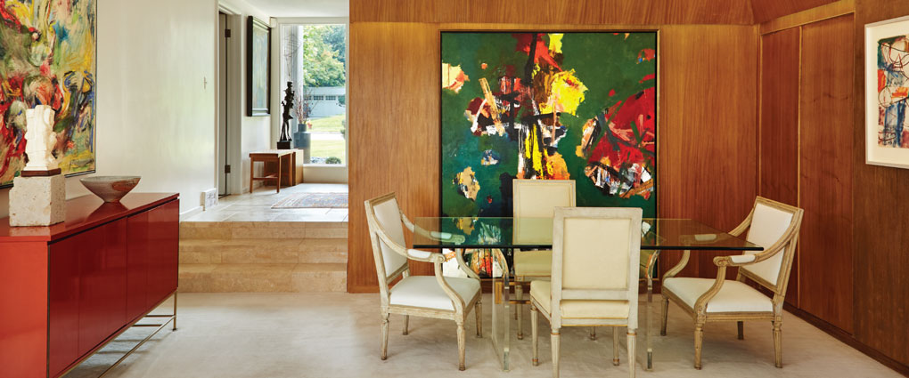 Dining Area with Abstract Expressionist Painting