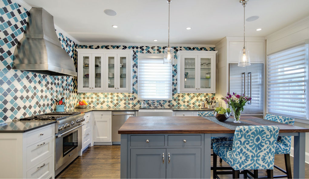 New kitchen features turquoise, gray, and off-white tiles