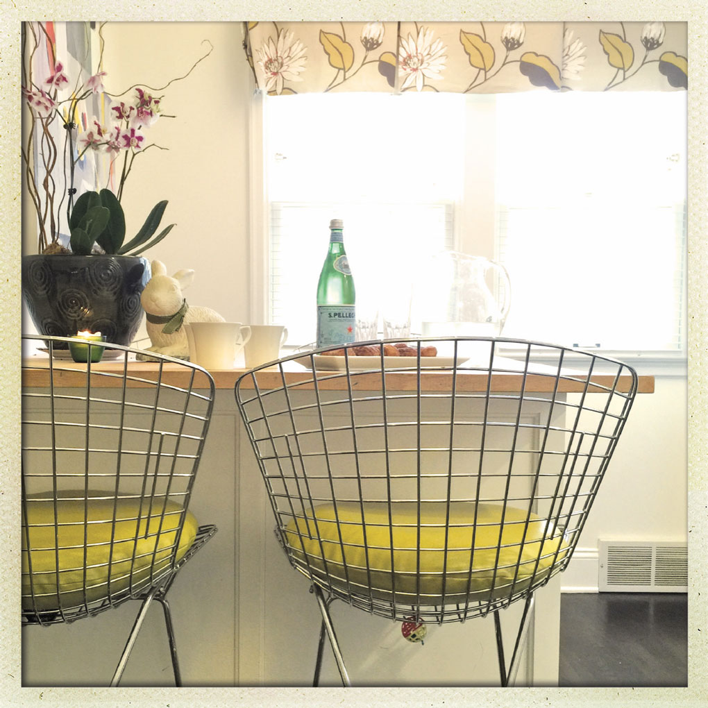 Two Chairs at a Kitchen Counter