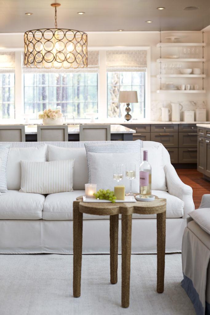 Sofa upholstered in Sunbrella Canvas White.