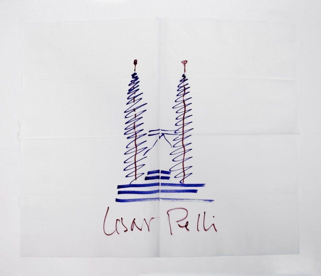 Cesar Pelli Tower Napkin Sketch