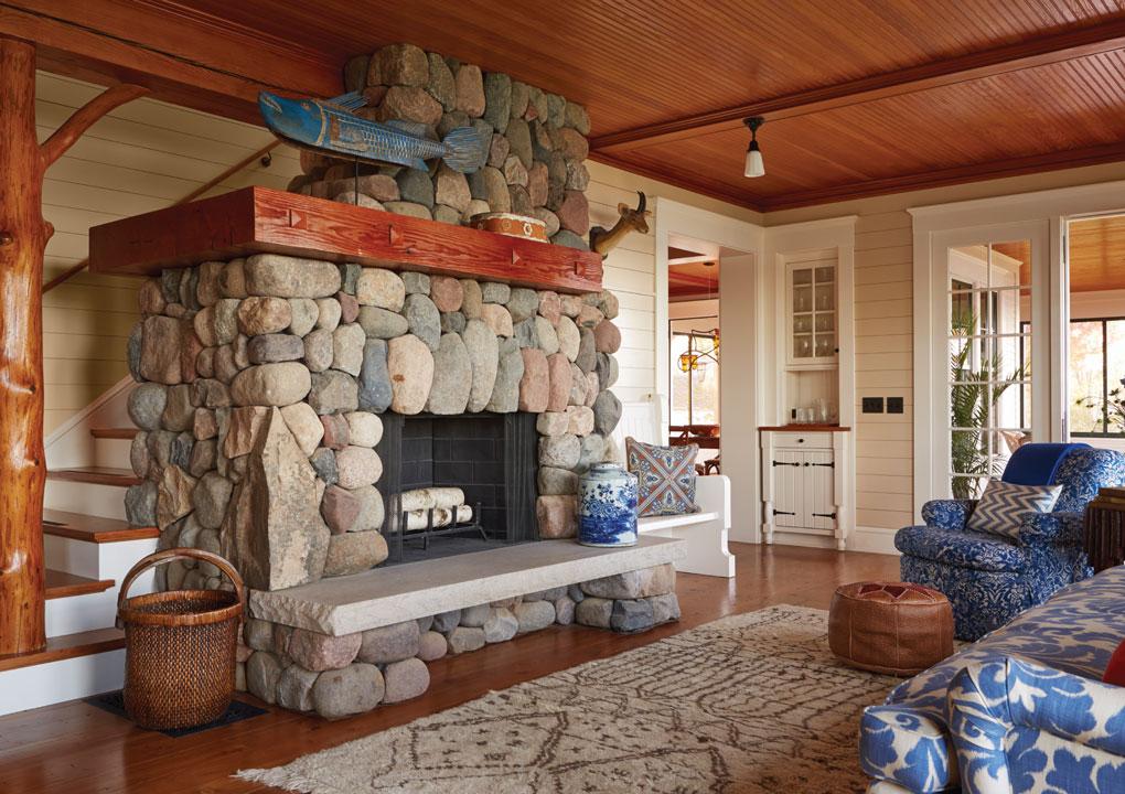 Crane Island Fireplace and LIving Room