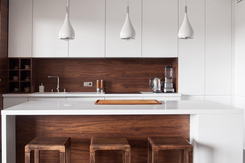 kitchen island with wood paneling