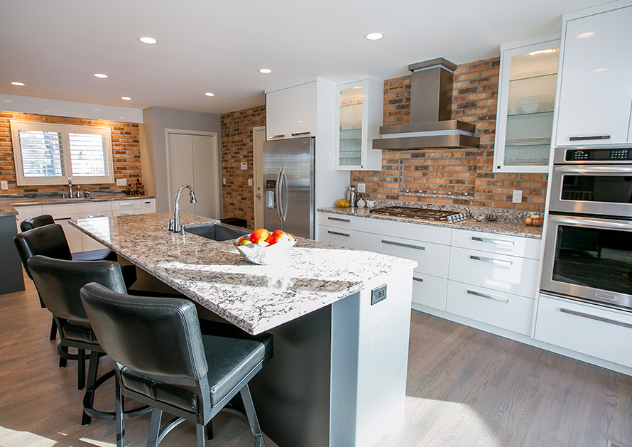 Orfield Design Kitchen remodel with stainless steel appliances and island