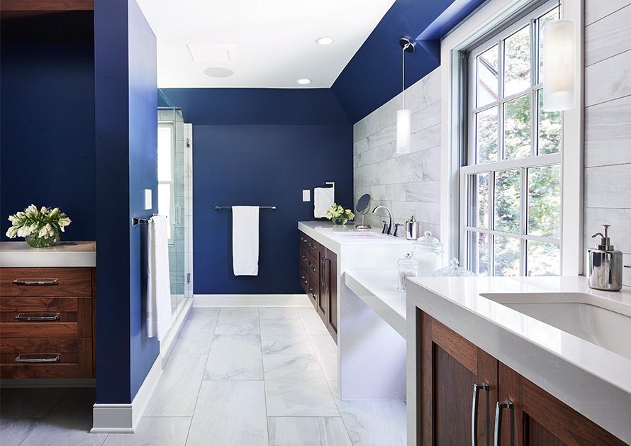Hagstrom builders bathroom remodel with marble and tile