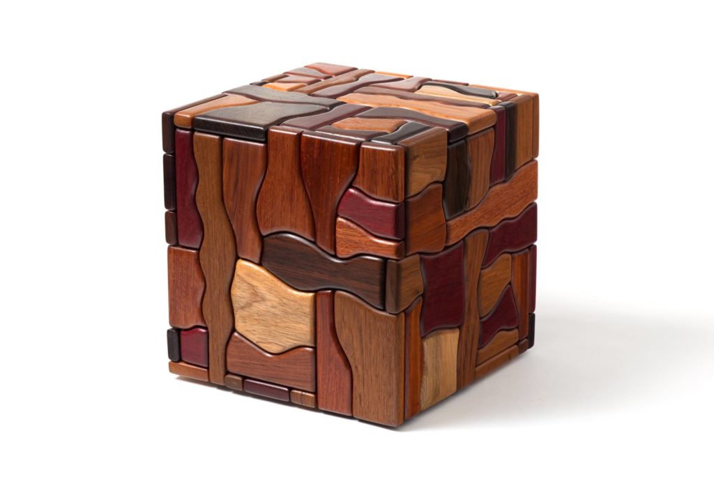 """George Morrison Cube, 1988 Wood 11 3/4 x 11 3/4 x 11 ¾"""" Purchased with funds given by Sylvia Brown, Dr. Wolfgang Zeman, and Renato & Giorgio Marmont"""