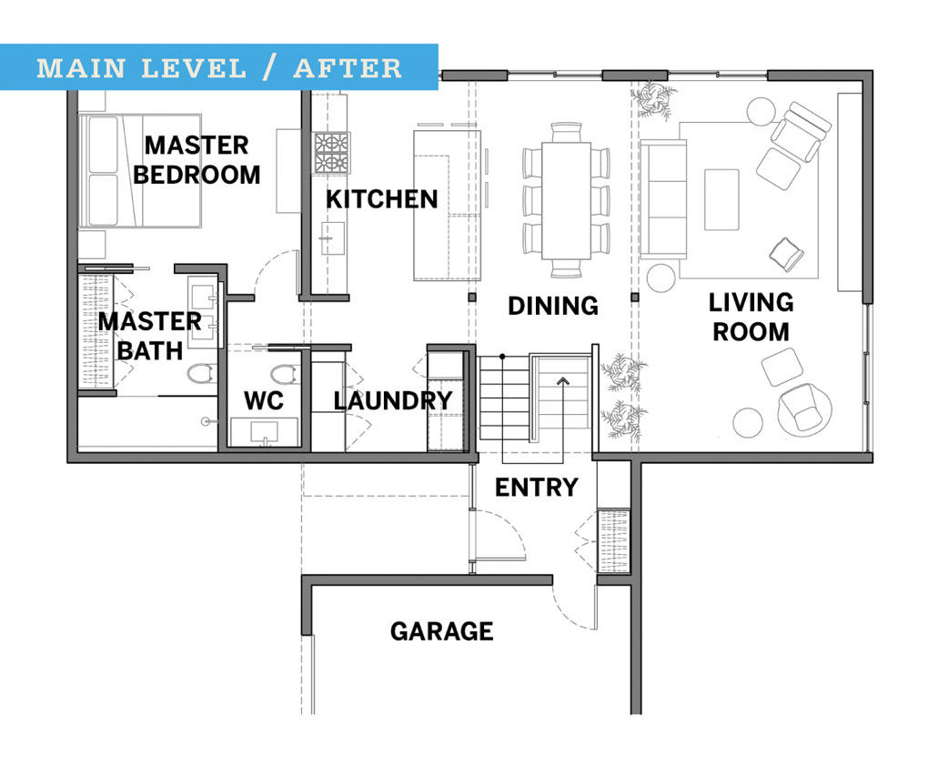 The blueprints of a floor plan after a remodel.