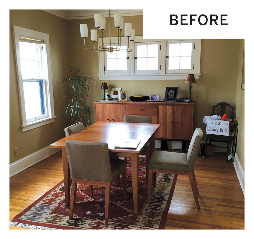 """The """"Before"""" photo of the dining room before being transformed into a den."""