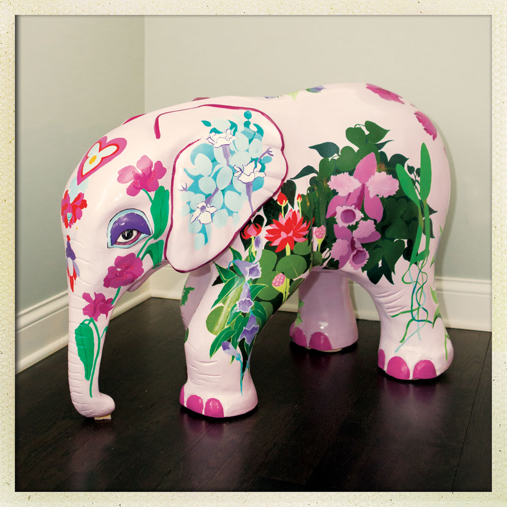 A hand-painted elephant created by Daniel Green's mother.