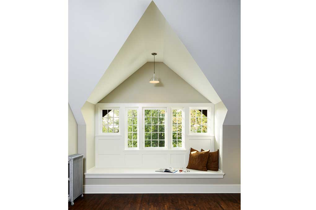 An attic was redone by Christopher Strom Architects to let in natural light.