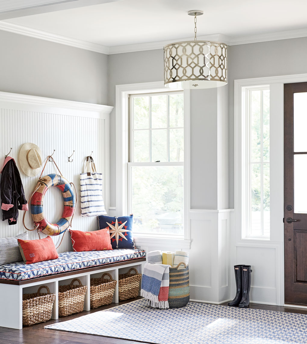 A nautical-themed front foyer in a Lake Minnetonka home.