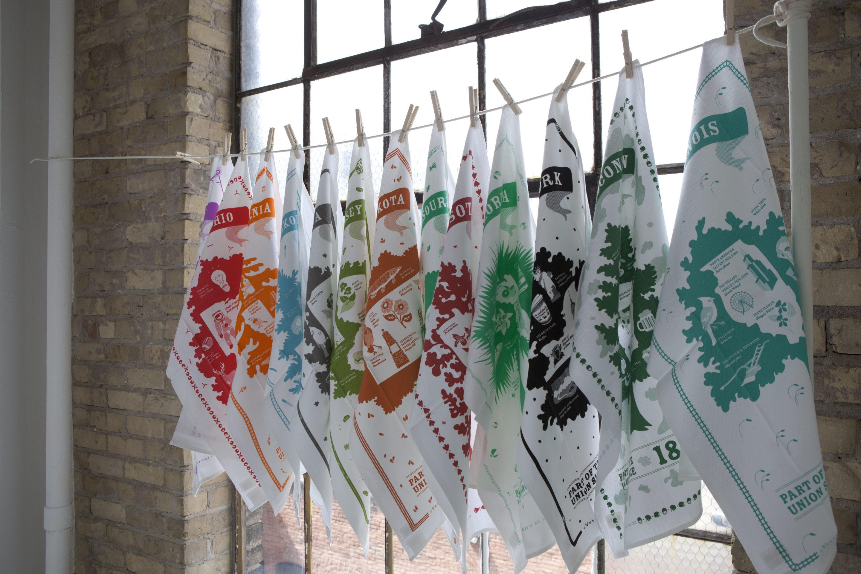 Vestiges towels on clothes line