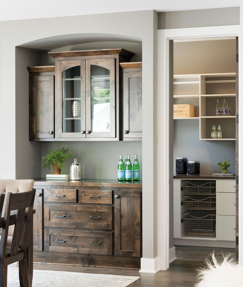 A built-in buffet in the dining room adds extra storage space.