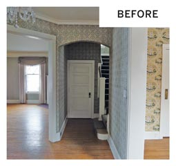 A before photo shows a white door next to a staircase leading to the second level.