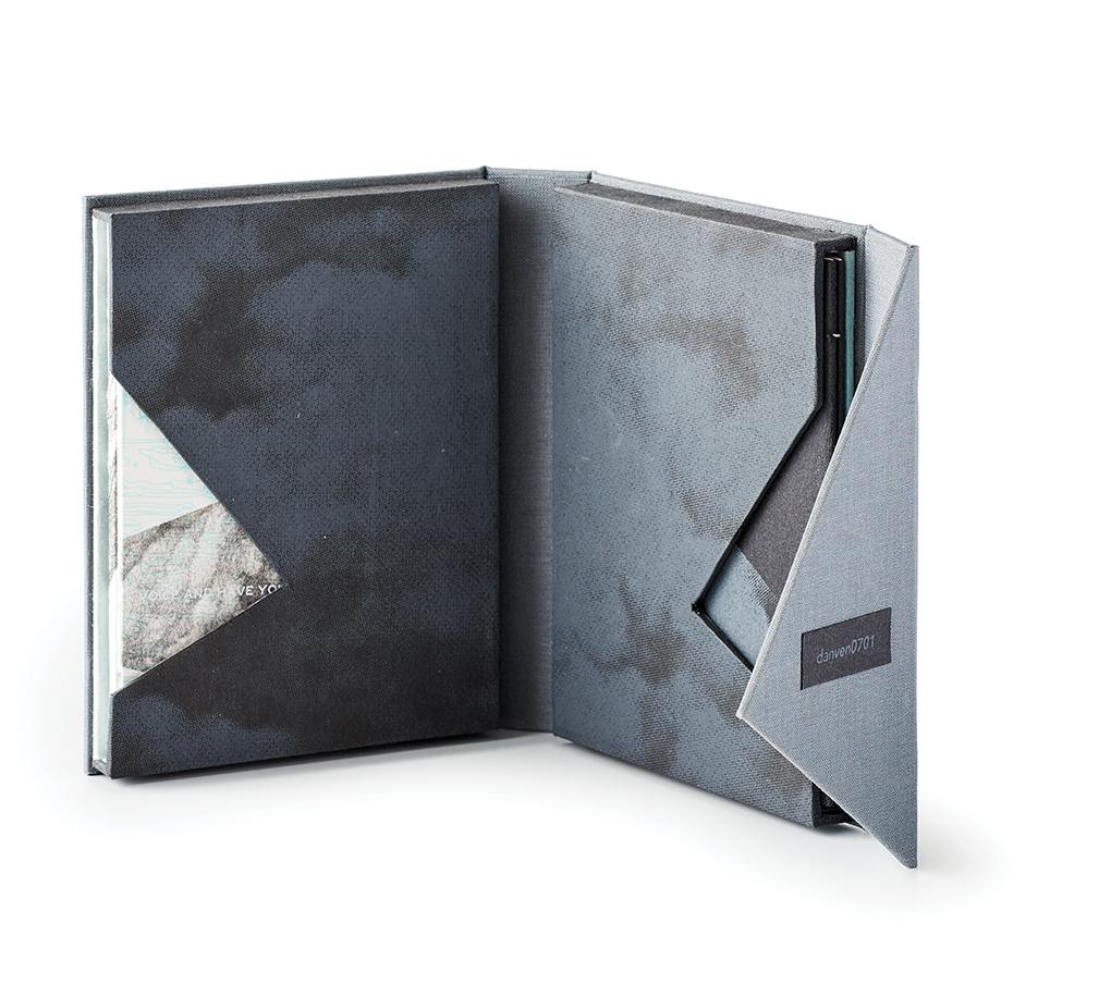 A gray-colored art book.