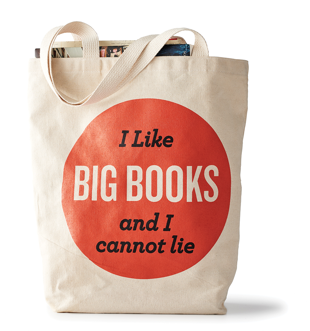 """Book bag with """"I like big books and I cannot lie"""" printed on its front."""