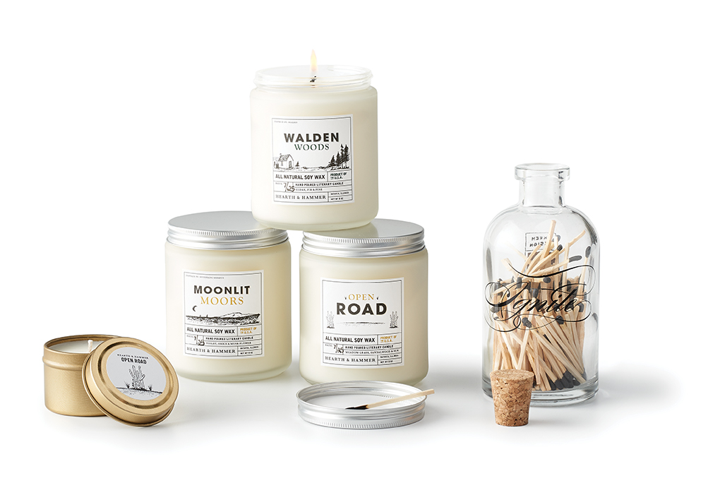 Hand-poured literary-themed candles.