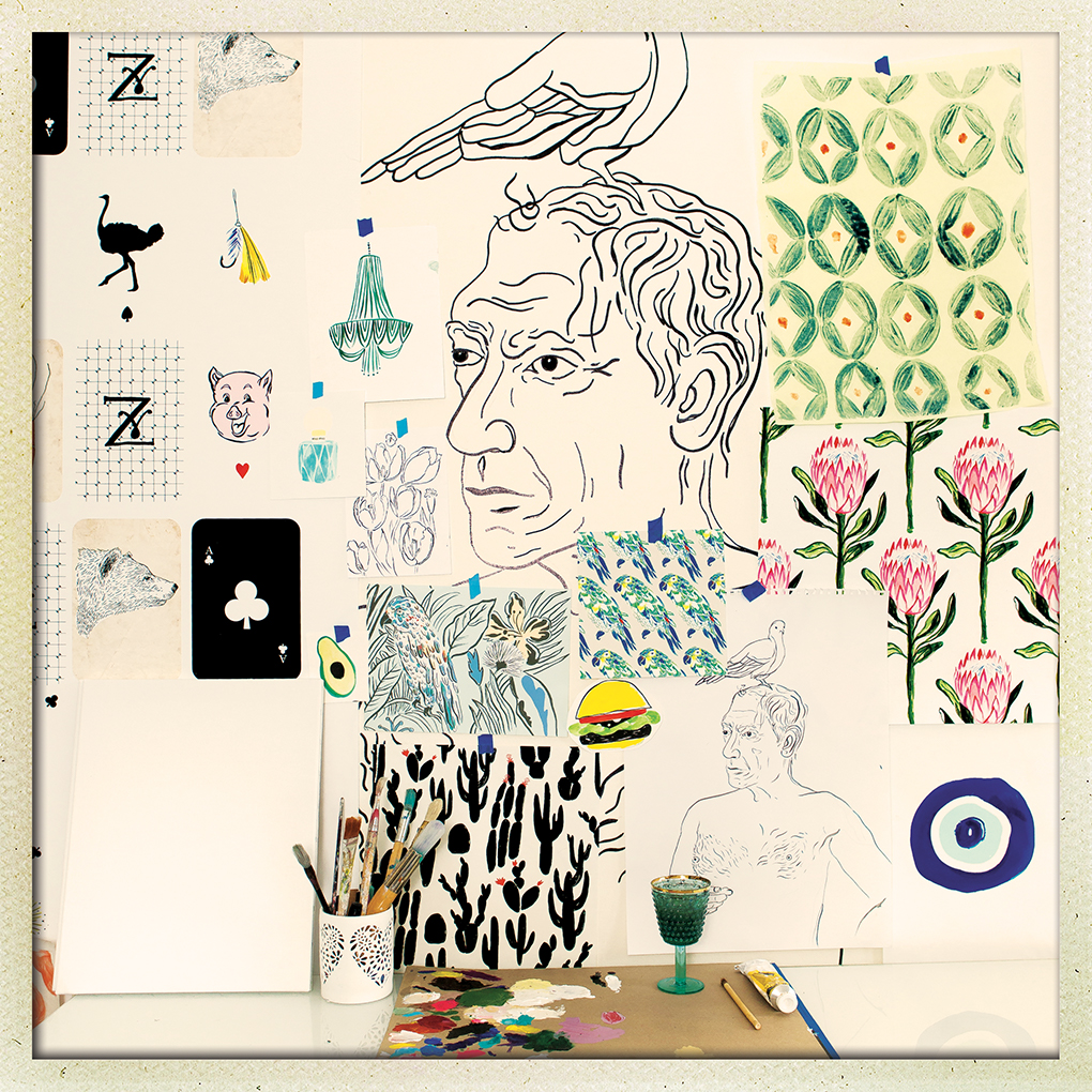 A collection of drawings, including flowers animals and a portrait of Picasso.