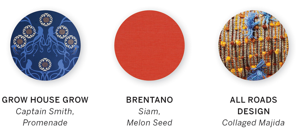A color swatch featuring Captain Smith, Promenade by Grow House Grow, Siam, Melon Seed by Brentano and Collaged Majida by All Roads Design.