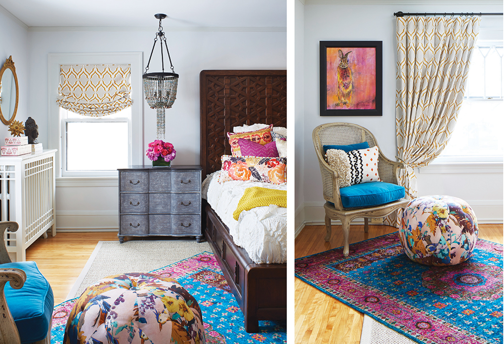 A bedroom accented with turquoise and pink rugs, pillows and footstool.