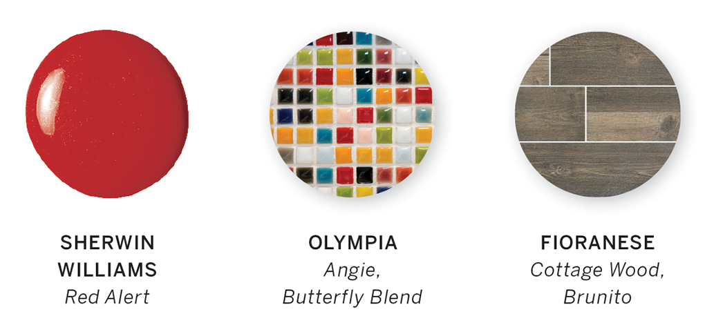 A color swatch, including Red Alert, Angie, Butterfly Blend and Cottage Wood, Brunito.