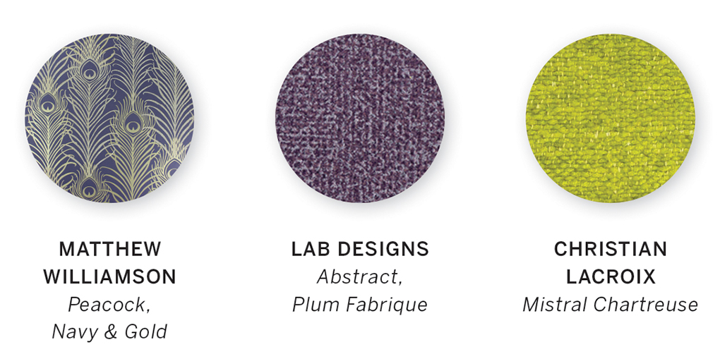 A color swatch featuring Peacock, Navy & Gold by Matthew Williamson, Abstract, Plum Fabrique by Lab Designs and Mistral Chartreuse by Christian Lacroix.