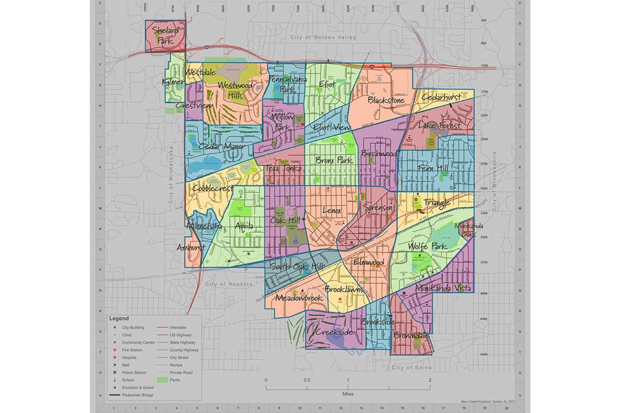 Map of St. Louis Park neighborhoods.