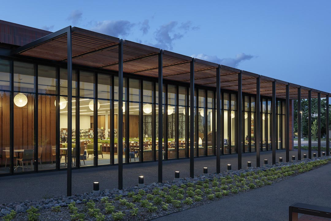 The exterior of the Shoreview Library.