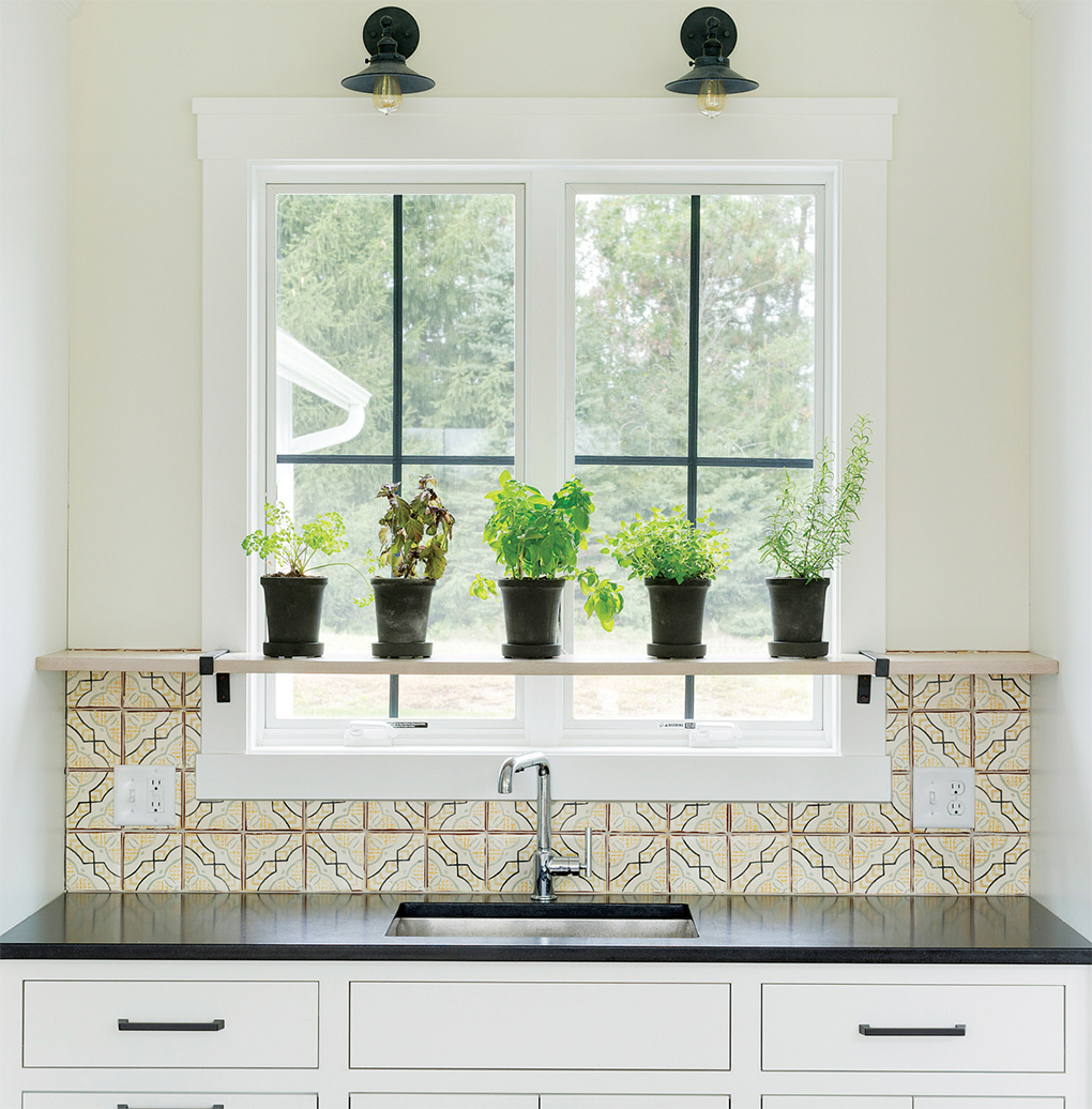 Herbs sitting on a shelf over a sink and in front of a window in a kitchen.