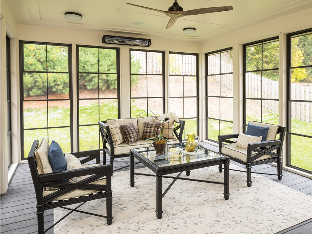 The remodel added a three-season porch to the Densingers' entertaining options.