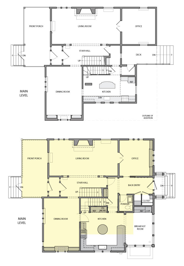 The before and after floor plans for a home remodeled by David Heidi Design Studio.