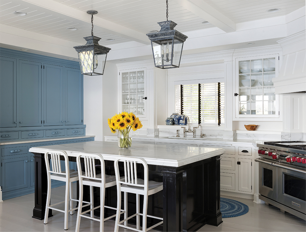 A blue and white kitchen in a home on Lake Minnetonka.