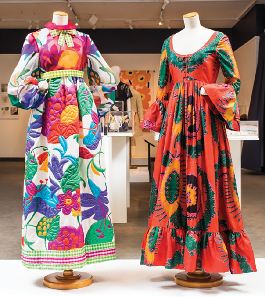 Two dresses on display at the Goldstein Museum of Design.