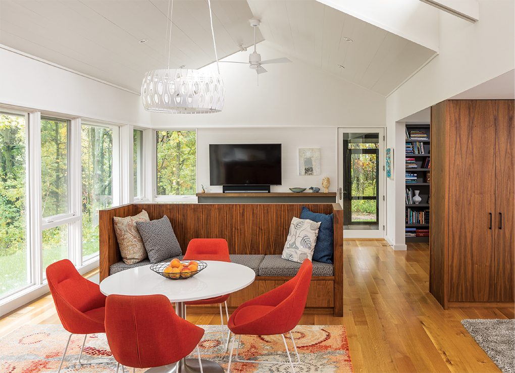 A sunken living room in a home built by SALA Architects.