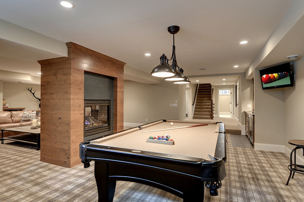basement gameroom with pooltable