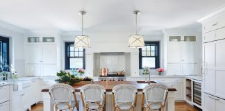 Marth O'Hara Interiors ASID white Kitchen with stools