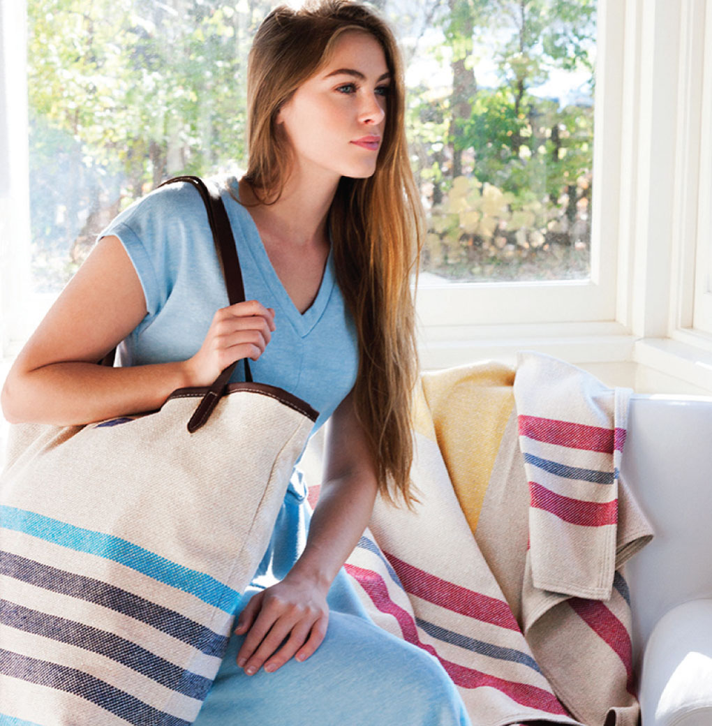 Faribault's new line features tote bags and nautical throws