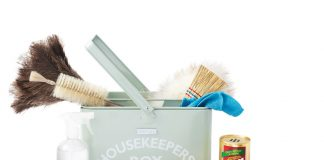 cleaning supplies tote and brushes