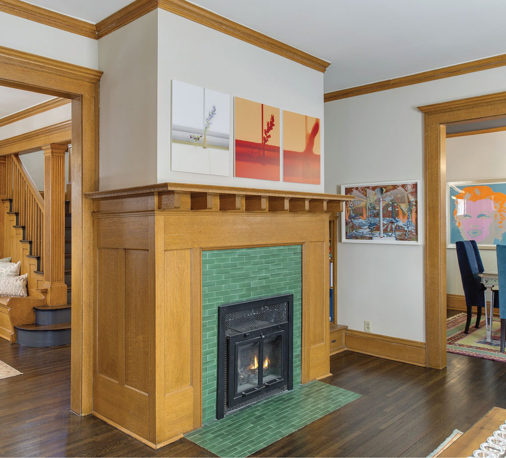 Fireplace with antique green tile
