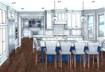 Schrader Company rendering of kitchen remodel with wood floors