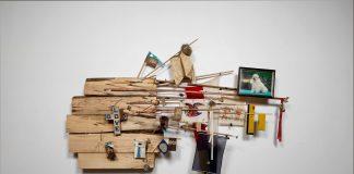 "Juan Angel Chávez Hard Bark, 2012 Mixed media collage, 94 x 112"""