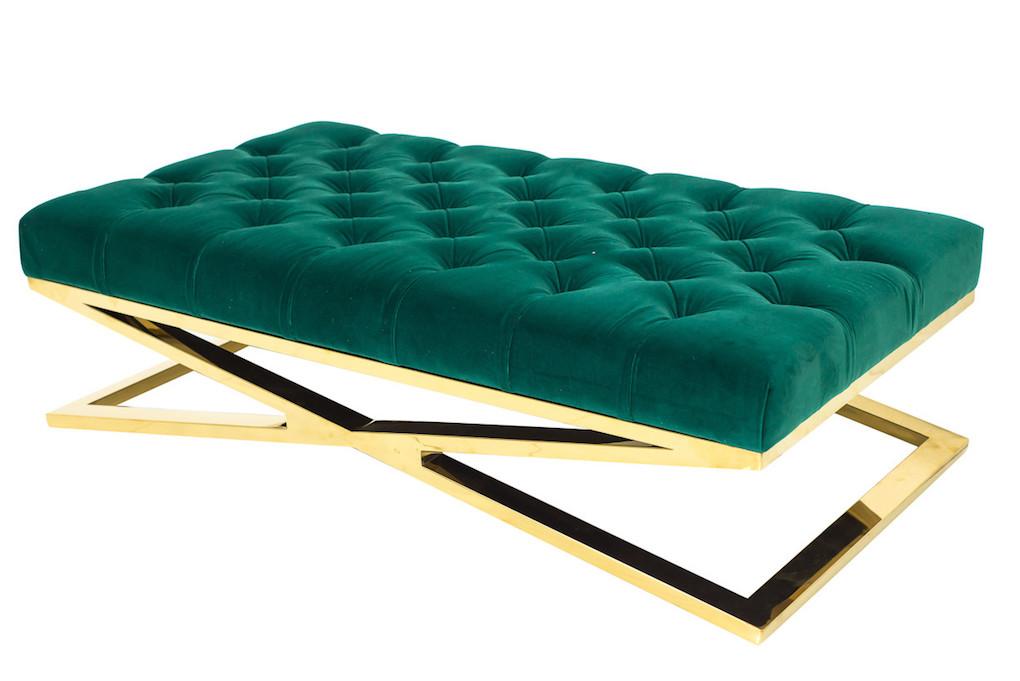 green velvet ottoman