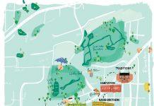 An illustration map of St. Louis Park's Design District.