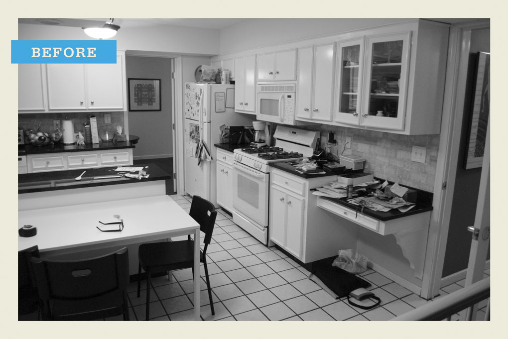 An outdated and cluttered kitchen.