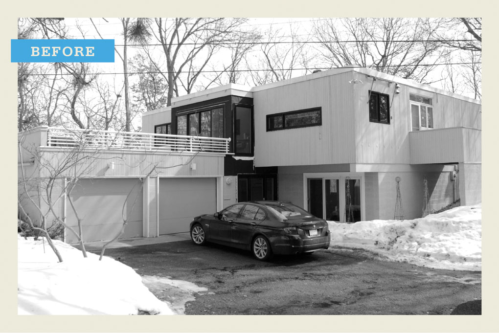 "A black and white ""before"" photo of a modern two-story home with a car in the driveway."